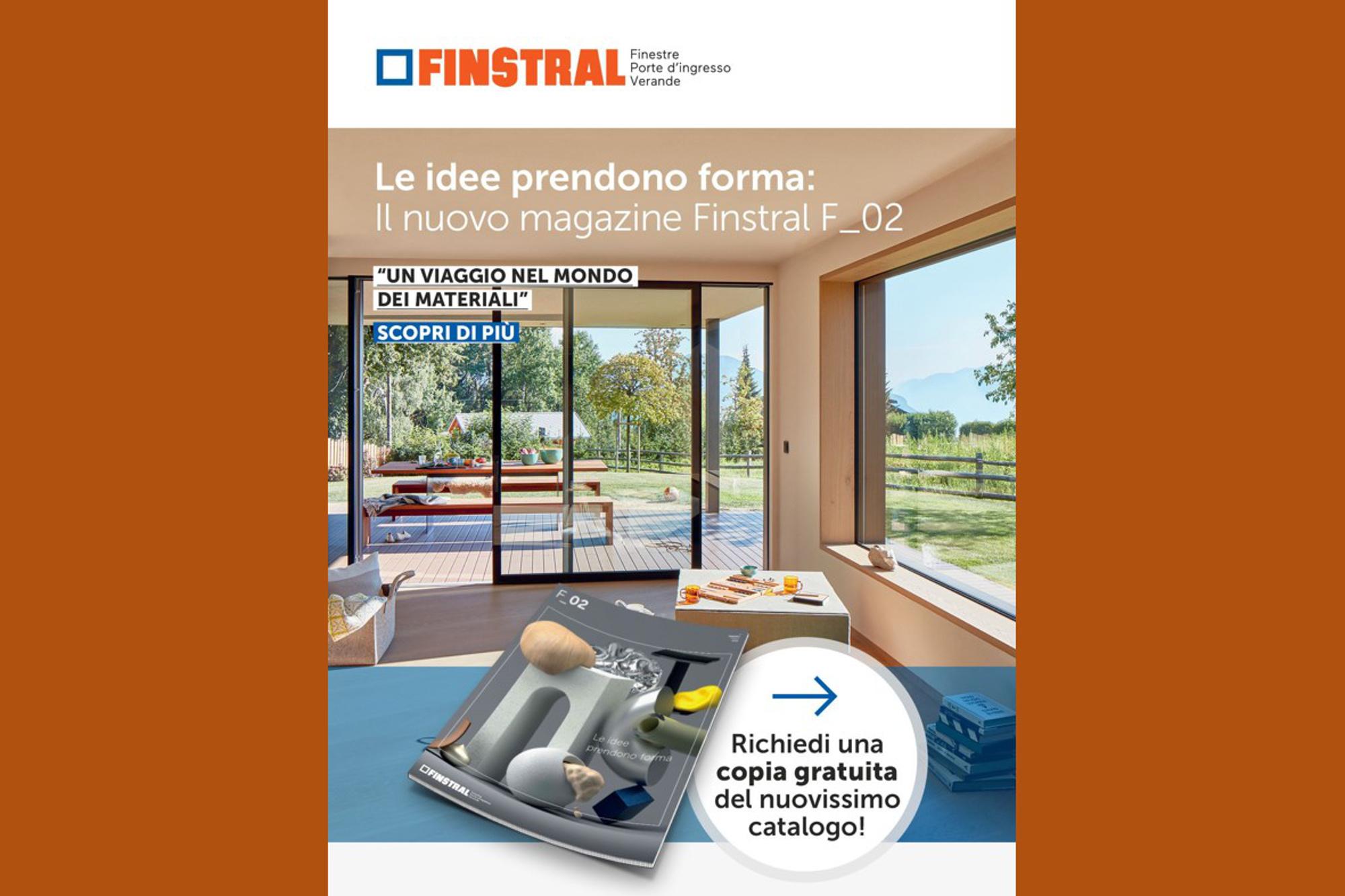 """Copertina del Catalogo Finstral """"Un viaggio nel mondo dei materiali"""""""