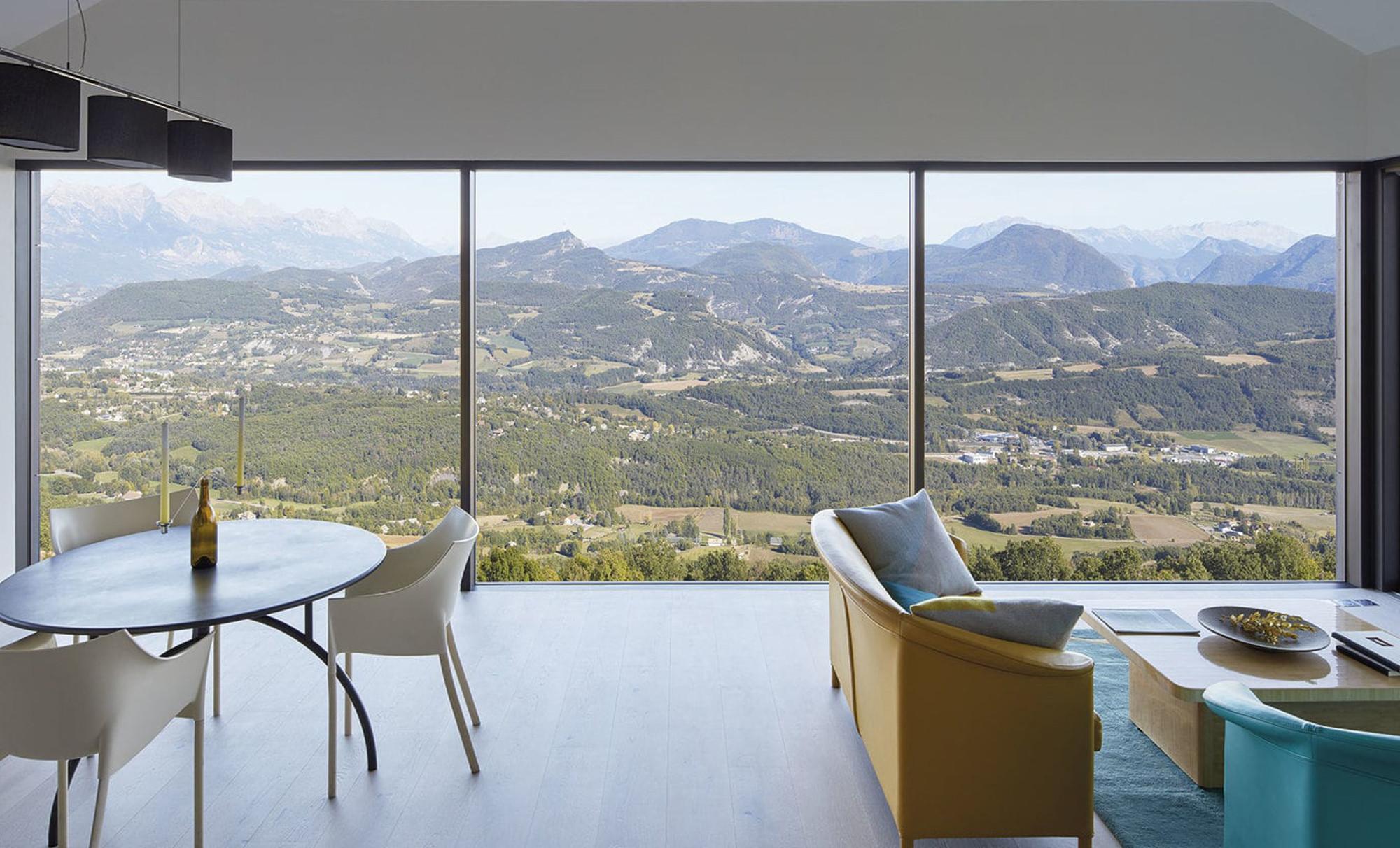 Pareti vetrate Finstral con panorama