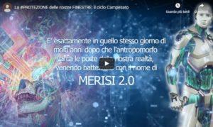 La schermata iniziale del video sulla verniciatura dei serramenti in legno Campesato con il robot Merisi 2.0