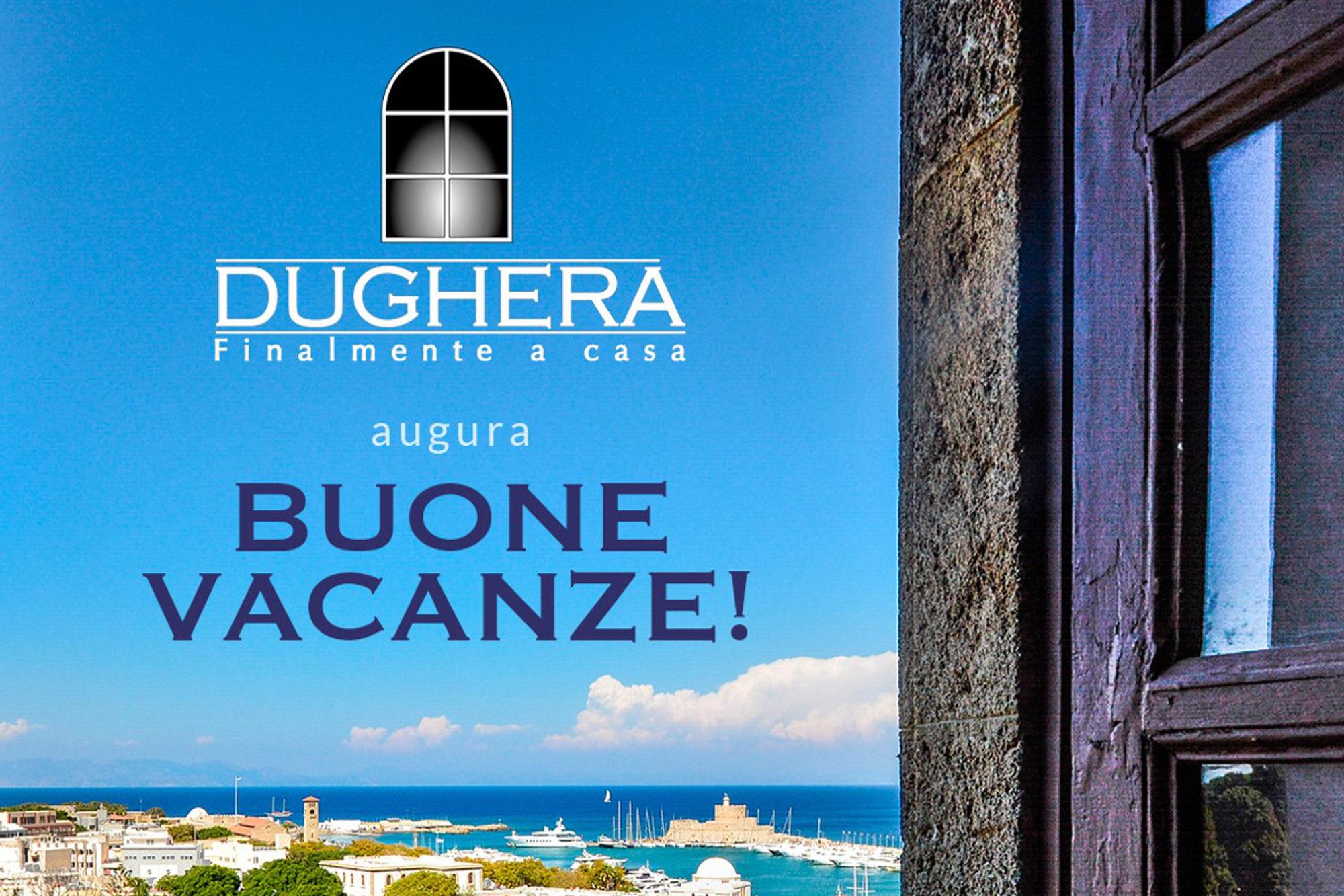 Finestra con panorama su mare e scritta buone vacanze per indicare la chiusura ferie estive Dughera Serramenti